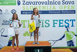 Kaja Najzer and Varvara Titarenko at Tenis fest ceremony during Day 7 at ATP Challenger Zavarovalnica Sava Slovenia Open 2018, on August 9, 2018 in Sports centre, Portoroz/Portorose, Slovenia. Photo by Vid Ponikvar / Sportida