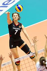 24.09.2011, Hala Pionir, Belgrad, SRB, Europameisterschaft Volleyball Frauen, Vorrunde Pool A, Deutschland (GER) vs. Ukraine (UKR), im Bild Angelina Grün / Gruen (#7 GER / Aachen GER) // during the 2011 CEV European Championship, First round at Hala Pionir, Belgrade, SRB, 2011-09-24. EXPA Pictures © 2011, PhotoCredit: EXPA/ nph/  Kurth       ****** out of GER / CRO  / BEL ******
