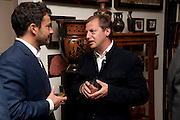 GILES COREN; MATTHEW FREUD, Freud Museum dinner, Maresfield Gardens. 16 June 2011. <br /> <br />  , -DO NOT ARCHIVE-© Copyright Photograph by Dafydd Jones. 248 Clapham Rd. London SW9 0PZ. Tel 0207 820 0771. www.dafjones.com.