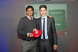 CARDIFF, WALES - Saturday, May 11, 2013: Cian Harries is presented with his U16's cap by Wales national team manager Chris Coleman at the FAW Trust Under-16's cap presentation. (Pic by David Rawcliffe/Propaganda)