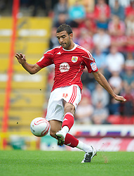 BRISTOL, ENGLAND - Saturday, August 7, 2010: Bristol City's Liam Fontaine in action against Millwall during the League Championship match at Ashton Gate. (Pic by: David Rawcliffe/Propaganda)