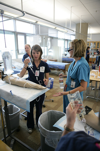 Students training at University of Texas School of Nursing in Houston.