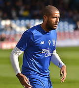 Bury Striker Leon Clarke warms up before the Sky Bet League 1 match between Bury and Rochdale at Gigg Lane, Bury, England on 17 October 2015. Photo by Mark Pollitt.