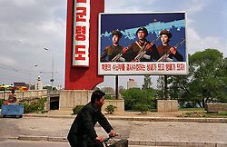 Pyonyang, North Korea, April/May 2004. Streetscene. (Photo by Teun Voeten) *** Please Use Credit from Credit Field ***
