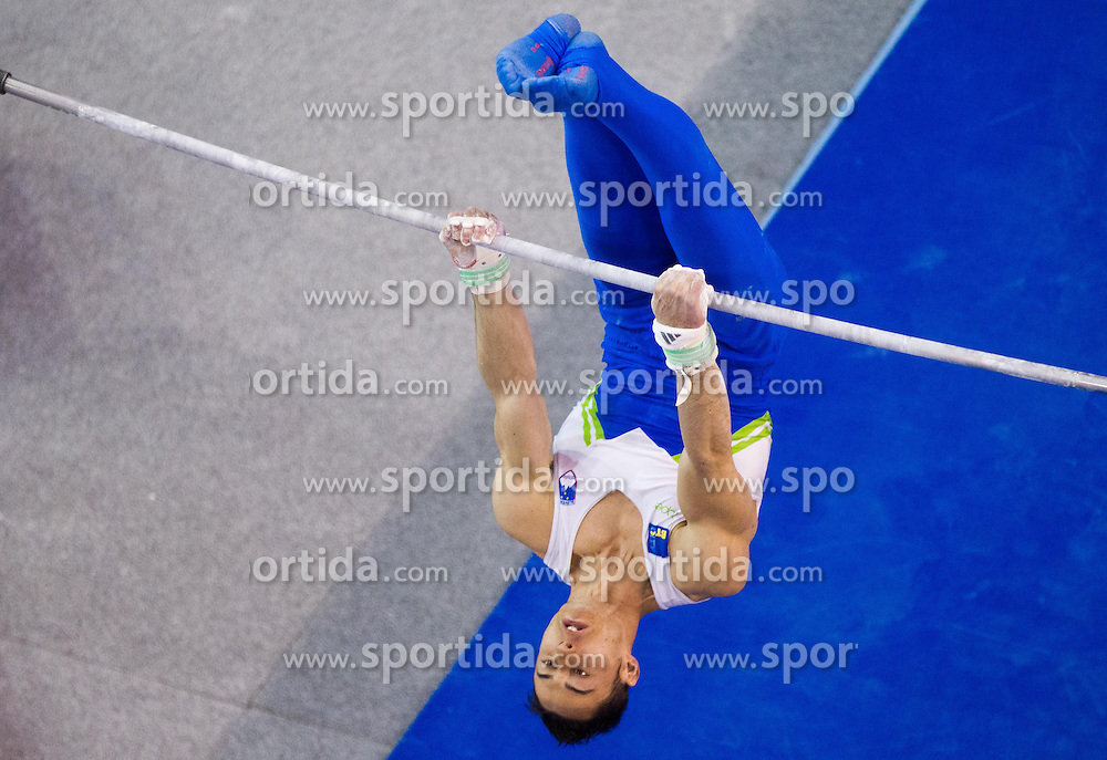 Alen Dimic of Slovenia competes in the Horizontal bar during Final day 2 of Artistic Gymnastics World Cup Ljubljana, on April 27, 2013, in Hala Tivoli, Ljubljana, Slovenia. (Photo By Vid Ponikvar / Sportida.com)