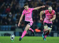 Joe Simmonds of Exeter Chiefs kicks Exeter's final penalty - Mandatory by-line: Alex Davidson/JMP - 13/01/2018 - RUGBY - Sandy Park Stadium - Exeter, England - Exeter Chiefs v Montpellier - European Rugby Champions Cup