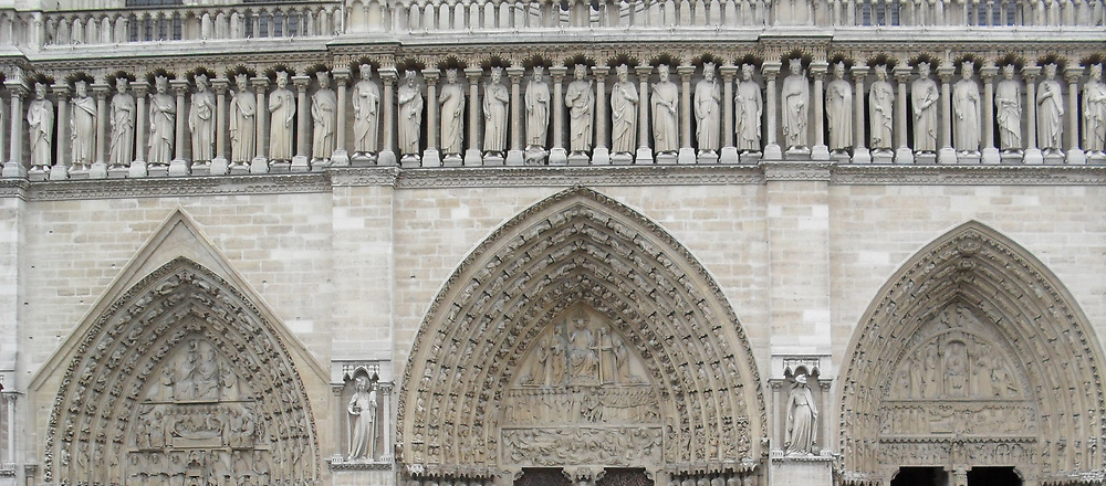 Exterior façade of the Cathedral of Notre Dame, Paris, France