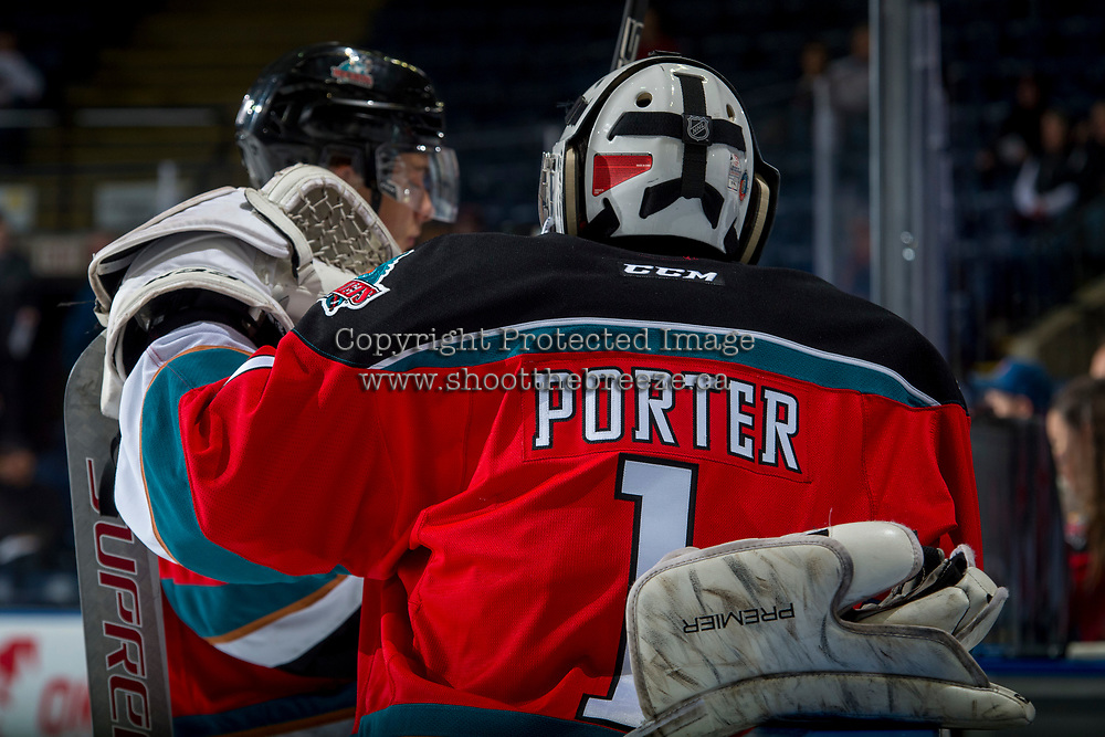 KELOWNA, CANADA - OCTOBER 27: James Porter #1 of the Kelowna Rockets stands at the bench during warm up against the Tri-City Americans on October 27, 2017 at Prospera Place in Kelowna, British Columbia, Canada.  (Photo by Marissa Baecker/Shoot the Breeze)  *** Local Caption ***