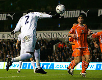 Photo: Tom Dulat.<br /> <br /> Tottenham Hotspur v Blackpool. Carling Cup. 31/10/2007.<br /> <br /> Pascal Chimbonda scores second goal for Tottenham Hotspur, Tottenham leads 2-0