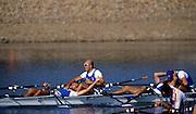 Sydney, AUSTRALIA, ITA M4X Celebrate winning the final of the men's Quadruple Sculls, Gold Medalist, bow, Agostino ABBAGNALE,  Alessio SARTORI, Rossano GALTAROSSA and  Simone RAINERI. 2000 Olympic Regatta, West Lakes Penrith. NSW.  [Mandatory Credit. Peter Spurrier/Intersport Images] Sydney International Regatta Centre (SIRC) 2000 Olympic Rowing Regatta00085138.tif
