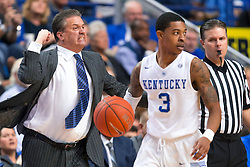 Kentucky head coach John Calipari, left, shows frustration in the second half.<br /> <br /> The University of Kentucky hosted the University of Florida, Saturday, Feb. 06, 2016 at Rupp Arena in Lexington .