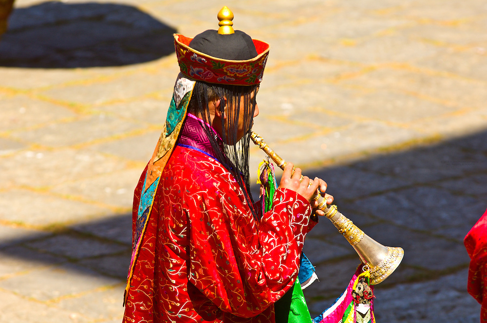 Musician at the Paro Tsechu (Festival), Paro, Bhutan