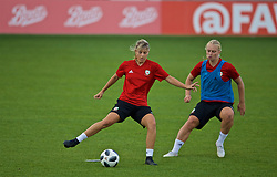 NEWPORT, WALES - Monday, September 2, 2019: Wales' Gemma Evans (L) and Elise Hughes during a training session at Rodney Parade ahead of the UEFA Women Euro 2021 Qualifying Group C match against Northern Ireland. (Pic by David Rawcliffe/Propaganda)