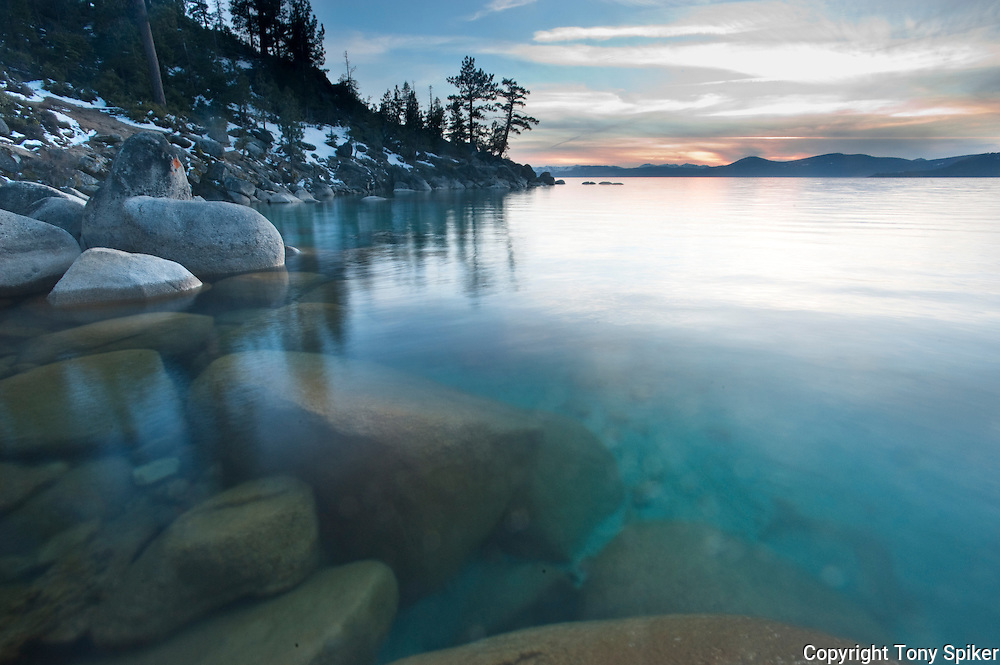 """""""Memorial Point Sunset 2"""" - The sun sets over Memorial Point on the Eastern shore of Lake Tahoe"""