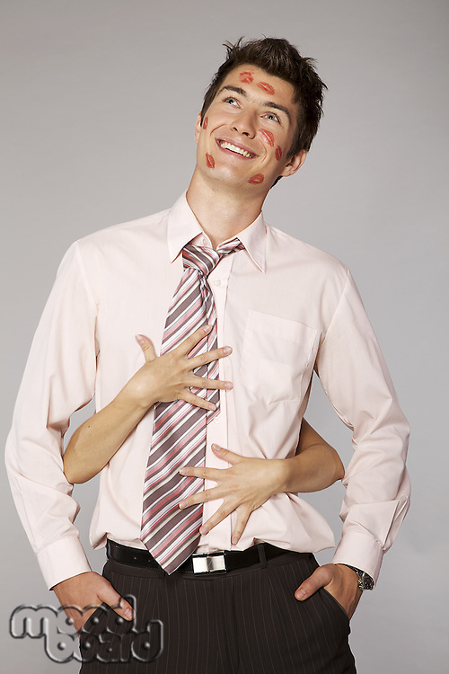 Young caucasian businessman in office romance concept