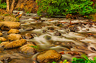 Water flows over rocks in McHugh Creek, summer, afternoon
