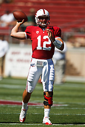 September 4, 2010; Stanford, CA, USA;  Stanford Cardinal quarterback Andrew Luck (12) throws a pass in warm ups before the game against the Sacramento State Hornets at Stanford Stadium.