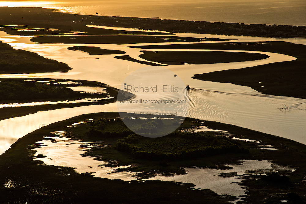Aerial view of sunrise over the intracoastal waterway at Isle of Palms, SC.