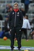 Liverpool Manager Jurgen Klopp  during the Barclays Premier League match between Newcastle United and Liverpool at St. James's Park, Newcastle, England on 6 December 2015. Photo by Simon Davies.