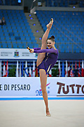 Alina Maksimenko during qualifying at clubs in Pesaro World Cup at the Adriatic Arenai on 27 April, 2013.<br />
