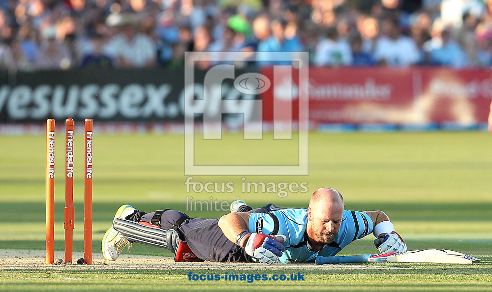 Picture by Paul Terry/Focus Images Ltd. 07545 642257.24/07/12.Matt Prior of Sussex Sharks is run out by Ed Young (not in picture) of Gloucestershire Gladiators during the Friends Life T20 Quarter Final match at the PROBIZ County ground, Hove.