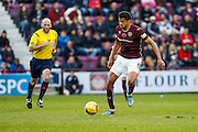 Hearts FC Forward Osman Sow on the attack during the Ladbrokes Scottish Premiership match between Heart of Midlothian and Hamilton Academical FC at Tynecastle Stadium, Gorgie, Scotland on 7 November 2015. Photo by Craig McAllister.