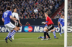 Ricardo Costa scores during the UEFA Champions League round of 16 second leg match between Schalke 04 and Valencia at Veltins Arena on March 9, 2011 in Gelsenkirchen, Germany.