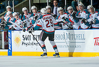 KELOWNA, CANADA - MARCH 28: Leon Draisaitl #29 of Kelowna Rockets celebrates a goal against the Tri-City Americans on March 28, 2015 at Prospera Place in Kelowna, British Columbia, Canada.  (Photo by Marissa Baecker/Shoot the Breeze)  *** Local Caption *** Leon Draisaitl;