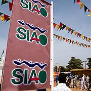Banners outside of the 22nd Salon International de l'Artisanat de Ouagadougou (SIAO) in Ouagadougou, Burkina Faso on Saturday November 1, 2008.