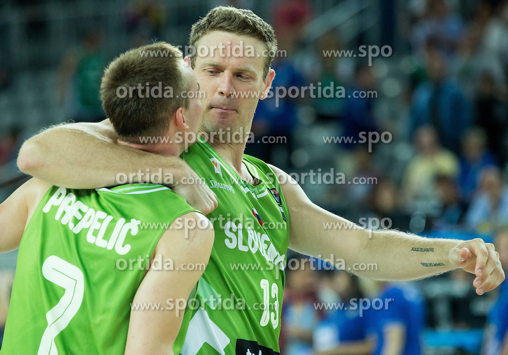 Klemen Prepelic of Slovenia and Miha Zupan of Slovenia celebrate after winning during basketball match between Slovenia and Georgia at Day 2 in Group C of FIBA Europe Eurobasket 2015, on September 6, 2015, in Arena Zagreb, Croatia. Photo by Vid Ponikvar / Sportida