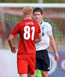 MOSCOW, RUSSIA - Tuesday, September 26, 2017: Liverpool's Liam Coyle and Spartak Moscow's Daniil Lopatin during the UEFA Youth League Group E match between Liverpool and Spartak Moscow FC at the Spartak Academy. (Pic by David Rawcliffe/Propaganda)