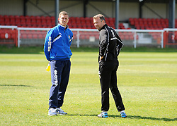Bristol Rovers' Lee Mansell and Bristol Rovers assistant manager, Marcus Stewart - Photo mandatory by-line: Neil Brookman/JMP - Mobile: 07966 386802 - 18/04/2015 - SPORT - Football - Dover - Crabble Athletic Ground - Dover Athletic v Bristol Rovers - Vanarama Football Conference