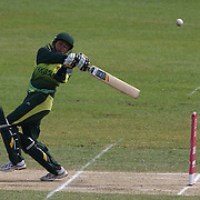 Sana Mir batting during the match between New Zealand and Pakistan in the Super 6 stage of the ICC Women's World Cup Cricket tournament at Drummoyne Oval, Sydney, Australia on March 19, 2009 New Zealand made 373 for 7. Photo Tim Clayton