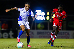 Daniel Leadbitter of Bristol Rovers is marked by Panutche Camara of Crawley Town - Mandatory by-line: Ryan Hiscott/JMP - 14/08/2018 - FOOTBALL - Memorial Stadium - Bristol, England - Bristol Rovers v Crawley Town - Carabao Cup