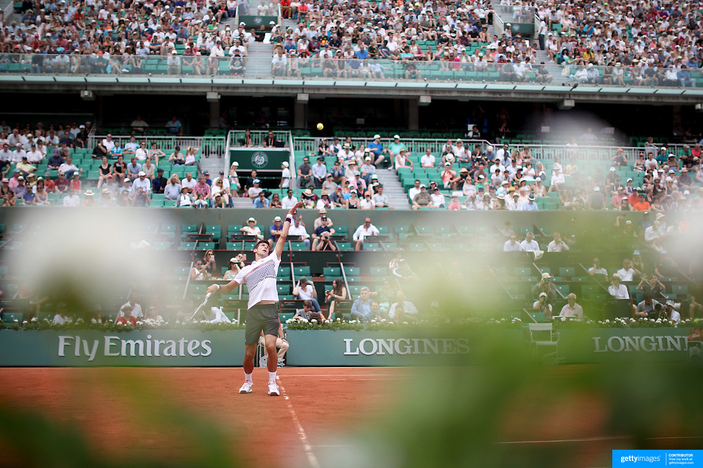 2017 French Open Tennis Tournament - Day Two.  Novak Djokovic of Serbia in action against Marcel Granollers of Spain on Court Philippe-Chatrier during the Men's Singles Round one match at the 2017 French Open Tennis Tournament at Roland Garros on May 29th, 2017 in Paris, France.  (Photo by Tim Clayton/Corbis via Getty Images)