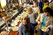 SAN SEBASTIAN - SPAIN - 23 JULY 2010 -- Locals and tourists eating tapas, or in Basques called pintxos, for lunch time at the Casa Alcalde Tapas Bar, San Sebastian. PHOTO: ERIK LUNTANG / INSPIRIT Photo.