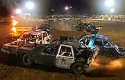 Arkansas Democrat-Gazette/BENJAMIN KRAIN --9/14/2013--<br /> Mayhem insues on the track during the White County Fair Demolition Derby