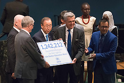 September 16, 2016 - New York, NY, United States - UN officials accept the petition of over a million names collected as part of the #WithRefugees campaign. Three days before the opening of the United Nations high-level Summit on Addressing Large Movements of Migrants and Refugees (September 19), Actor Ben Stiller and former refugee celebrities presented a petition from the #WithRefugees campaign to the UN.  On behalf of the UN, Secretary-General Ban Ki-moon and UN High Commissioner for Refugees Filippo Grandi participated in the event. (Credit Image: © Albin Lohr-Jones/Pacific Press via ZUMA Wire)