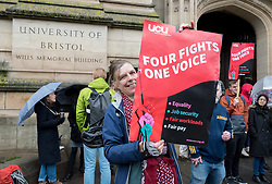 © Licensed to London News Pictures. 25/11/2019. Bristol, UK. University strike across the UK. Rally and march by University and College Union (UCU) members at the University of Bristol with support from students. Strikers gathered outside the university's Victoria Rooms and then marched down Bristol's Park Street past the university's Wills Memorial tower. The disputes is about changes to the Universities Superannuation Scheme (USS) and universities' failure to make improvements on pay, equality, casualisation and workloads. As well as eight strike days from 25 November 2019 to Wednesday 4 December 2019, union members will begin 'action short of a strike'. This involves things like working strictly to contract, not covering for absent colleagues and refusing to reschedule lectures lost to strike action. Photo credit: Simon Chapman/LNP.