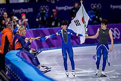 24-02-2018: Olympische Spelen: Dag 15: Pyeongchang<br /> Koen Verweij heeft Nederland op de Winterspelen het brons bezorgd op de massastart. Bob de Jong en zijn winnaar Seung-Hoon Lee uit Zuid-Korea