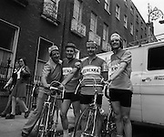Start of Rás Tailteann. <br /> (J58).1975. 07.06.1975. 06.07.1975. 7th June 1975 saw the start of The Rás Tailteann cycle race. The race, which covers 900 miles around Ireland, will conclude in Limerick on Thursday 12th June. A field of seventy seven riders are listed to take part. The actress, Siobhan McKenna, graciously agreed to be the offical starter of the race.<br /> Pictured before the start of the Rás, the Limerick team, sponsored by Ferenka Ltd, pose for the camera. (L-R), Team manager, John Walters, John Houlihan, John Slattery and John Kelly.