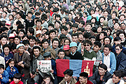 Thousands of Mongolians gather in Sukh Bator square to show their support for the Mongolian Democratic Union First Congress meeting April 8, 1990 in Ulaan Bator, Mongolia. The peaceful protests resulted in a democratic revolution overthrowing the Soviet back communist government.
