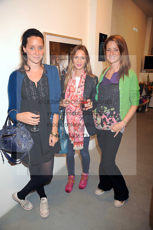 Left to right, INDIA LANGTON, AMANDA CROSSLEY and CLEMENTINE LANGTON at an exhibition in aid of the Turquoise Mountain Jewellery Programme at the Maddox Gallery, 52 Brook's Mews, London W1 on 9th September 2008.