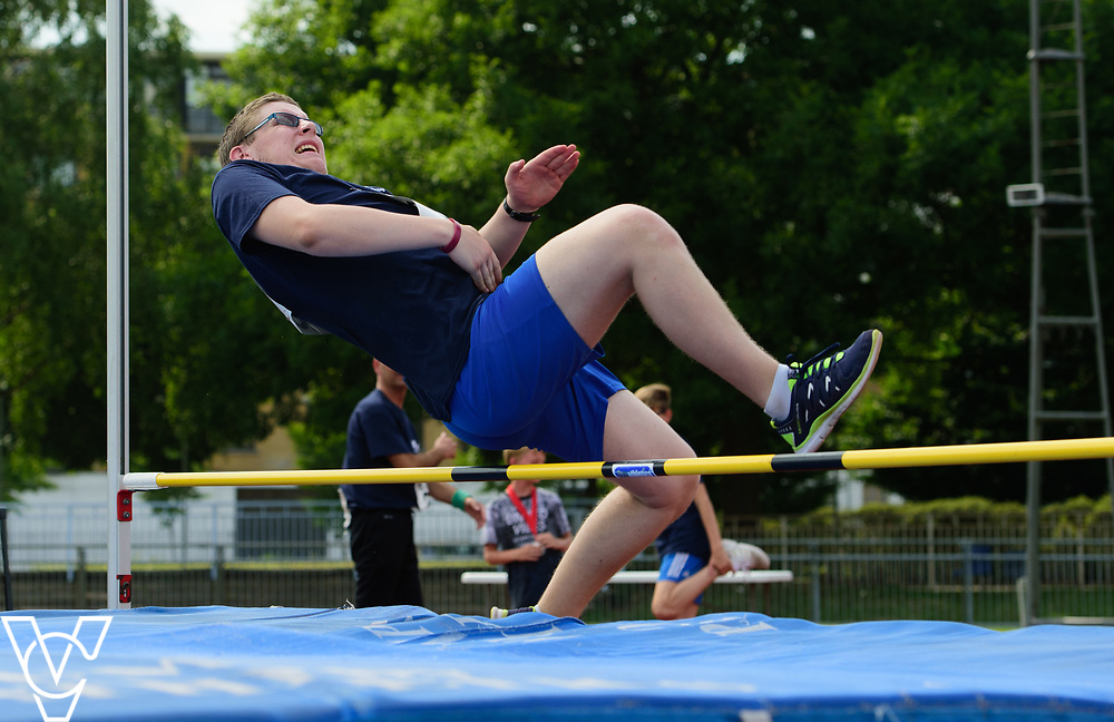 Metro Blind Sport's 2017 Athletics Open held at Mile End Stadium.  High Jump.  Matthew Boulding<br /> <br /> Picture: Chris Vaughan Photography for Metro Blind Sport<br /> Date: June 17, 2017