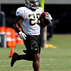 August 6, 2011; Metairie, LA, USA; New Orleans Saints running back Mark Ingram (28) during training camp practice at the New Orleans Saints practice facility. Mandatory Credit: Derick E. Hingle