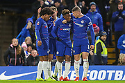 Chelsea midfielder Callum Hudson-Odoi (20) celebrates with teammates after scoring a goal(2-0) during the The FA Cup fourth round match between Chelsea and Sheffield Wednesday at Stamford Bridge, London, England on 27 January 2019.