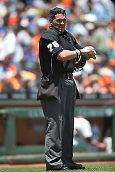 SAN FRANCISCO, CA - JUNE 25:  MLB umpire Manny Gonzalez #79 stands on the field during the third inning between the San Francisco Giants and the San Diego Padres at AT&T Park on June 25, 2015 in San Francisco, California.  The San Francisco Giants defeated the San Diego Padres 13-8. (Photo by Jason O. Watson/Getty Images) *** Local Caption *** Manny Gonzalez