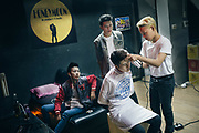 Bangkok, April 7, 2017 - <br /> a group of Tomboy with the hairdresser, she finishes her work before the festive evening at Honeymoon Tomboy Club RCA in Bangkok