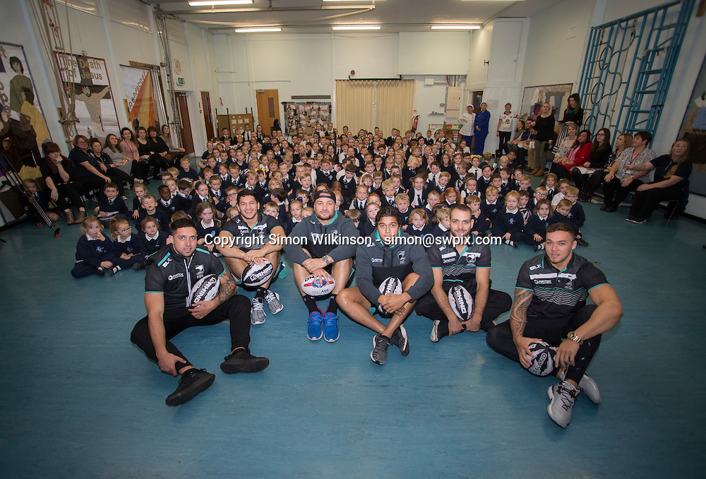 Rugby League - - New Zealand School Visit - Holy Family School , Cronton, England - New Zealand players Gerard Beale, James Fisher-Harris, Te Maire Martin, Jason Nightingale, Jared Ware-Hargreaves and Dallin Watene-Zelezniak visit the Holy Family School in Cronton, ahead of their final at Anfield on Saturday. 16 November 2016. Picture by Paul Currie/SWpix / www.photosport.nz