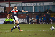 John Baird  fires home Dundee's fourth goal - Dundee v Greenock Morton, William Hill Scottish Cup 5th Round at Dens Park .. - © David Young - www.davidyoungphoto.co.uk - email: davidyoungphoto@gmail.com